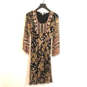 [DVF]Brown Floral/Beaded Sheer Silk Dress - Size 4